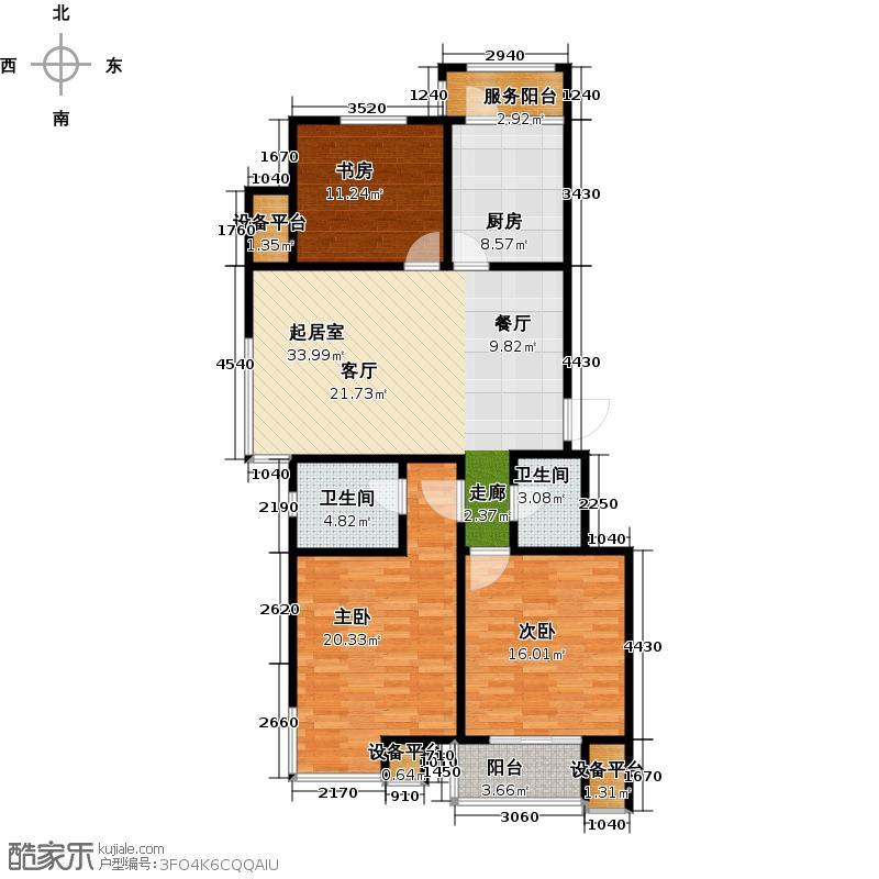 中天富城120.45㎡J户型三室两厅两卫户型3室2厅2卫
