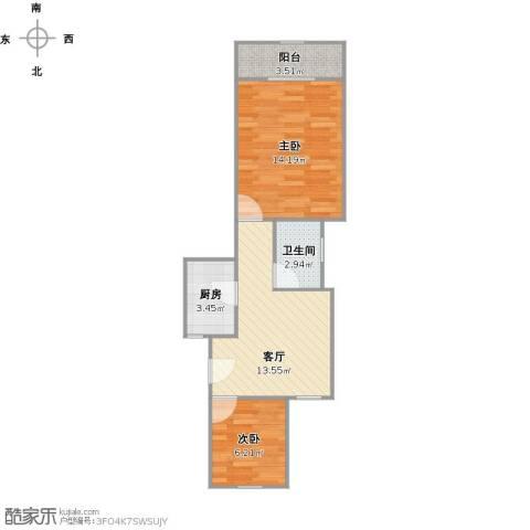 罗山一村2室1厅1卫1厨59.00㎡户型图