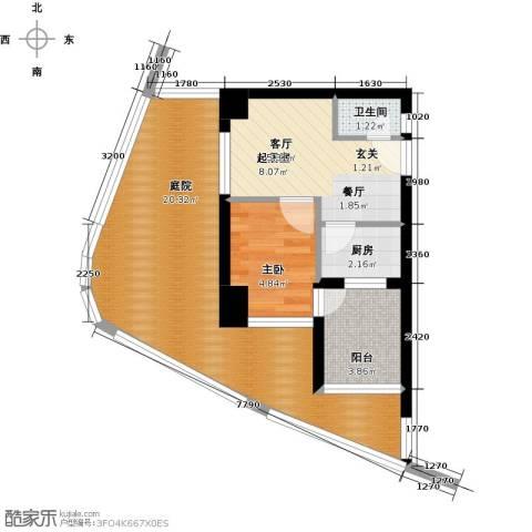 万泽国际1室0厅1卫1厨61.00㎡户型图