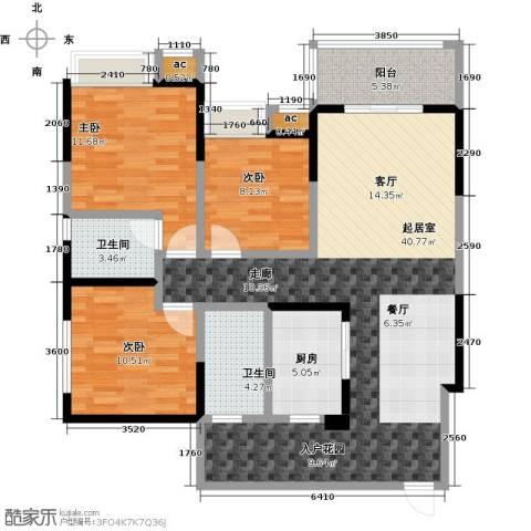 西城国际3室0厅2卫1厨130.00㎡户型图