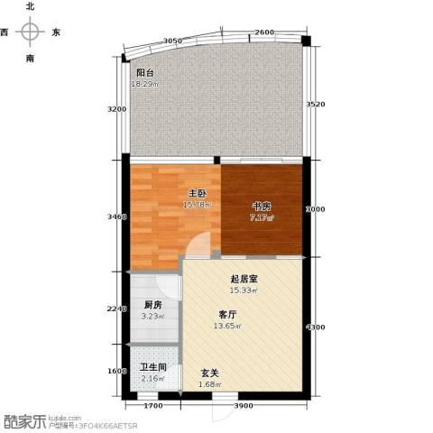 万泽国际1室0厅1卫1厨77.00㎡户型图