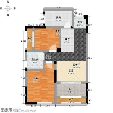 常发香堤半岛2室1厅1卫1厨74.00㎡户型图