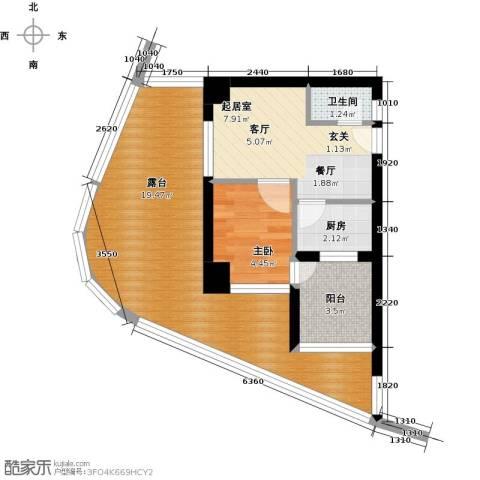 万泽国际1室0厅1卫1厨46.00㎡户型图