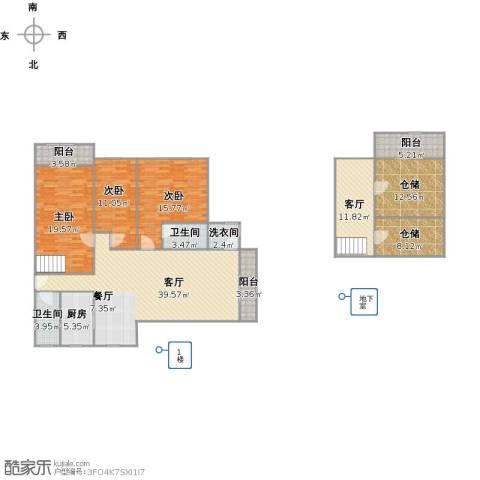 梧桐城邦二期3室2厅2卫1厨194.00㎡户型图
