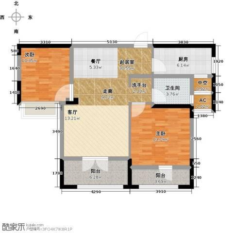 绿地中央广场2室0厅1卫1厨89.00㎡户型图