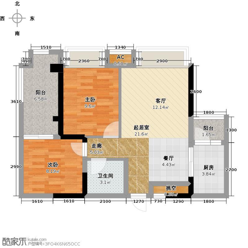东域龙湾一期一号楼二十六层A2标准层户型2室1卫1厨