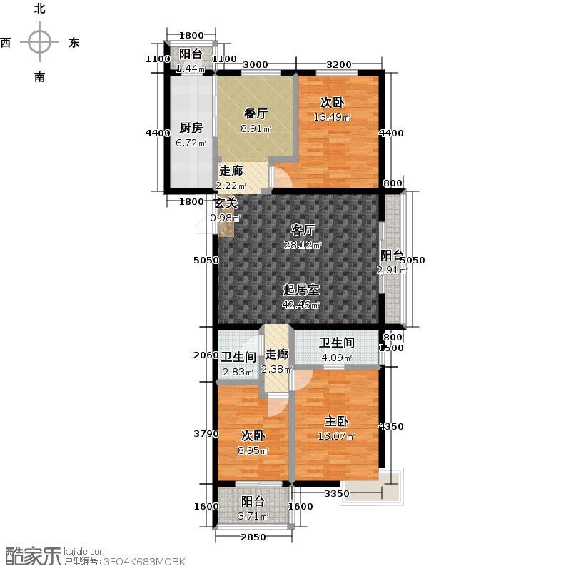 东润财智公馆128.27㎡D户型128.27平米三室两厅两卫户型3室2厅2卫