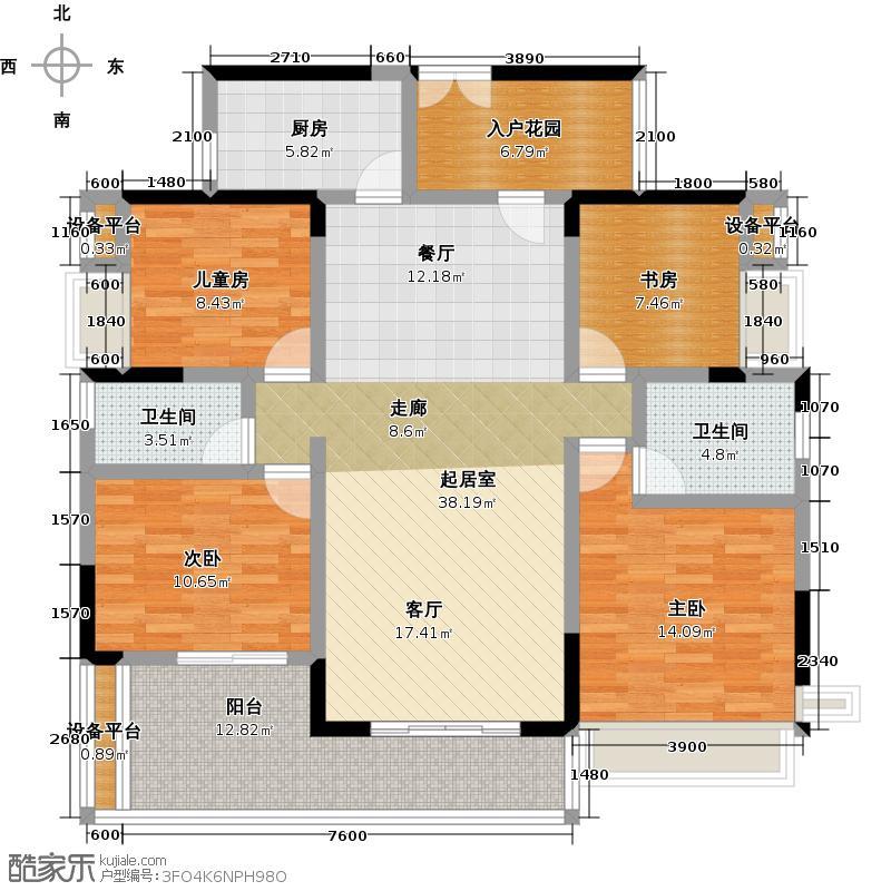 越秀・滨海�城17栋标准层01户型4室2卫1厨