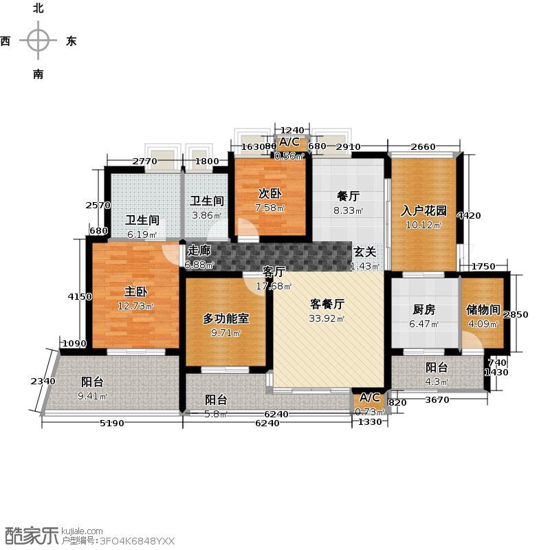 湖滨壹号134.00㎡二期A户型3室2厅2卫X