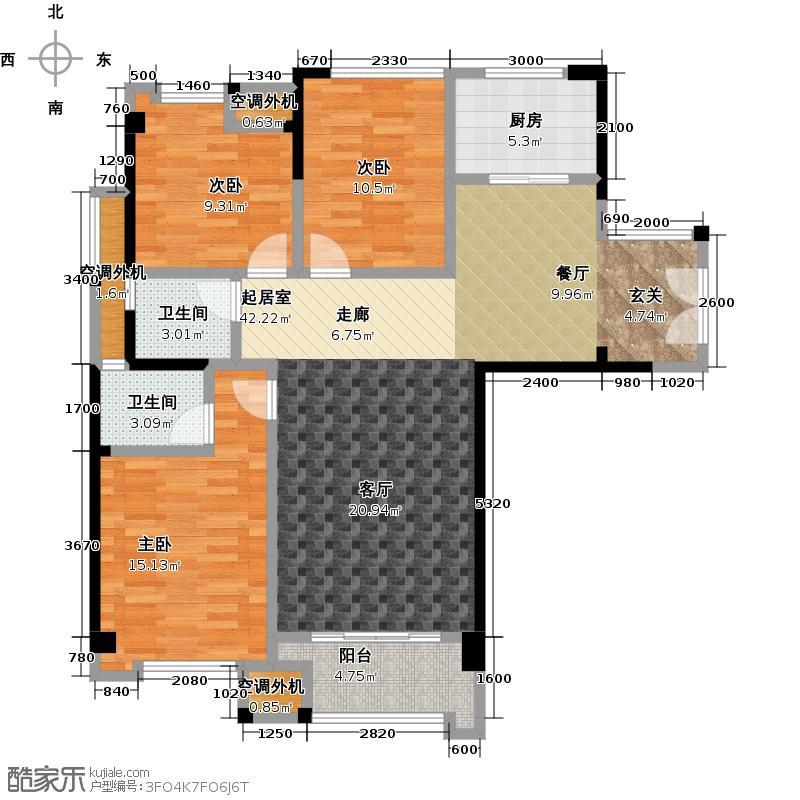 三盛托斯卡纳111.00㎡92#楼04、05户型,建筑面积约111㎡,三房两厅两卫一阳台户型3室2厅2卫