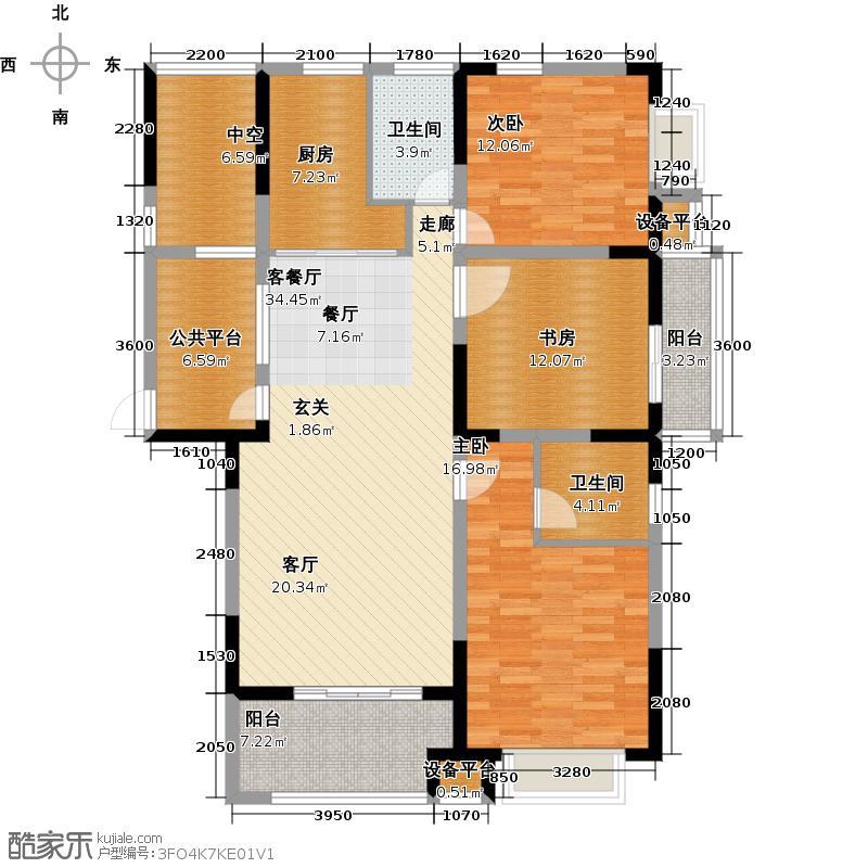 宏阳江南岸户型3室1厅2卫1厨
