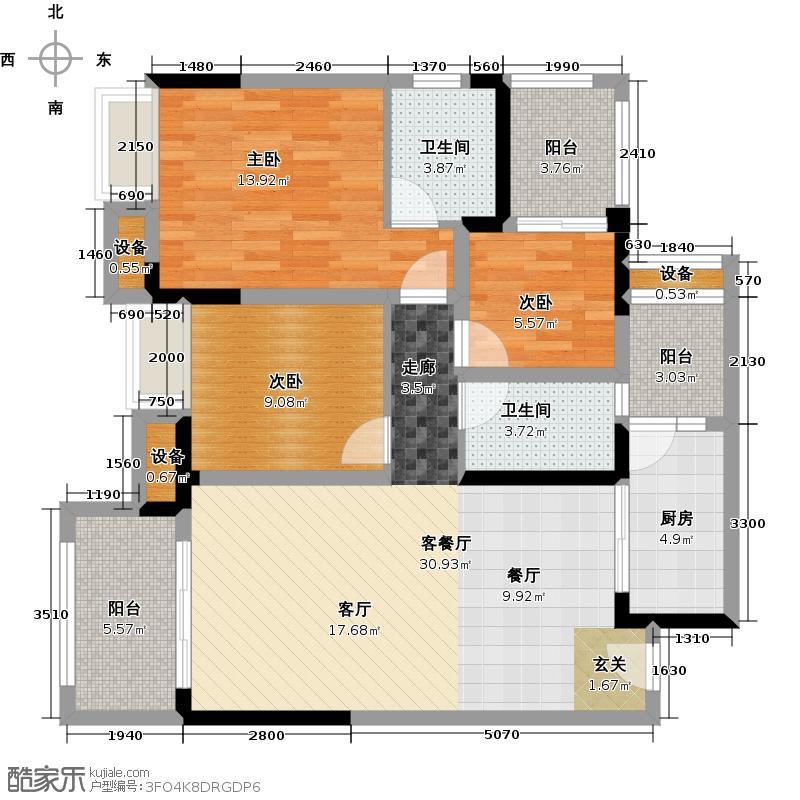 保利江上明珠馨园户型3室1厅2卫1厨
