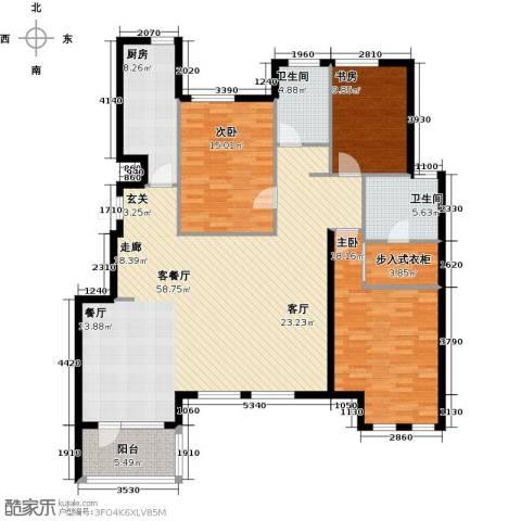 世茂茂悦府3室1厅2卫1厨143.51㎡户型图