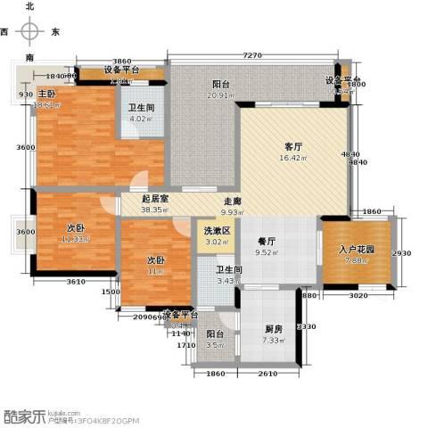锦上华庭铭邸3室0厅2卫1厨129.12㎡户型图