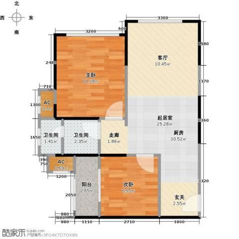 中铁子悦薹2室0厅2卫0厨52.00㎡户型图