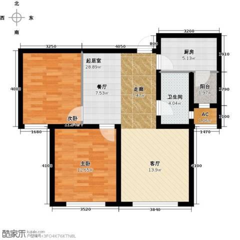 华厦津典三期川水园2室0厅1卫1厨94.00㎡户型图