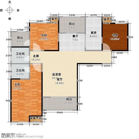 财信圣堤亚纳3室0厅2卫1厨137.00㎡户型图