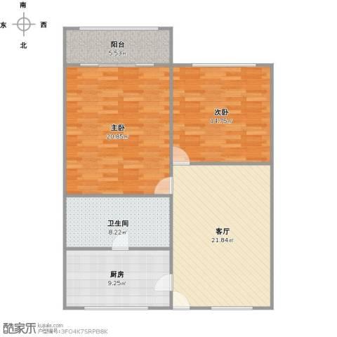 呼玛四村2室1厅1卫1厨107.00㎡户型图