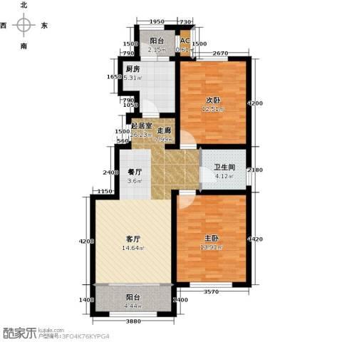华厦津典三期川水园2室0厅1卫1厨101.00㎡户型图