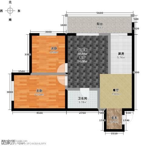 漫步巴黎2室0厅1卫0厨88.00㎡户型图