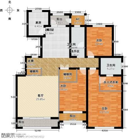 华厦津典三期川水园3室0厅2卫1厨182.00㎡户型图