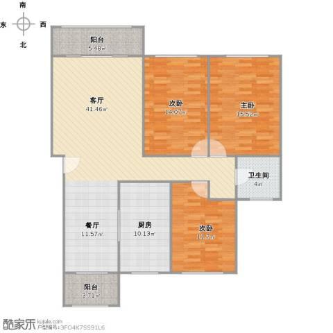 城投世纪名城3室1厅1卫1厨141.00㎡户型图