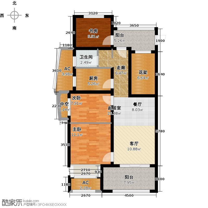 新城香溢紫郡84.00㎡84平米四房户型4室2厅1卫