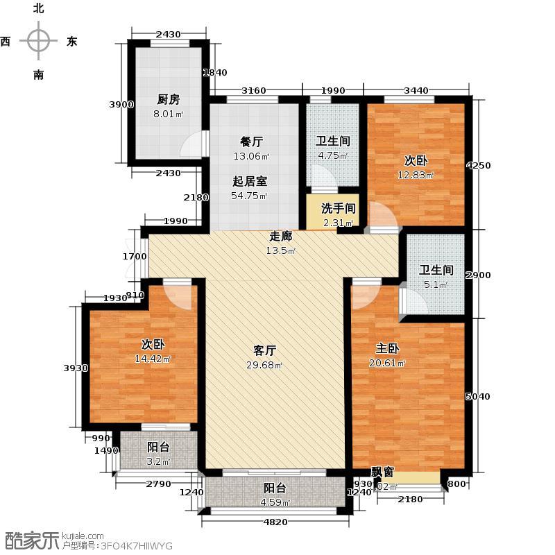 巨华开心果146.76㎡B1户型3室2厅2卫