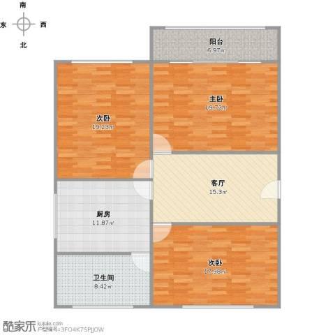 真光七街坊3室1厅1卫1厨133.00㎡户型图
