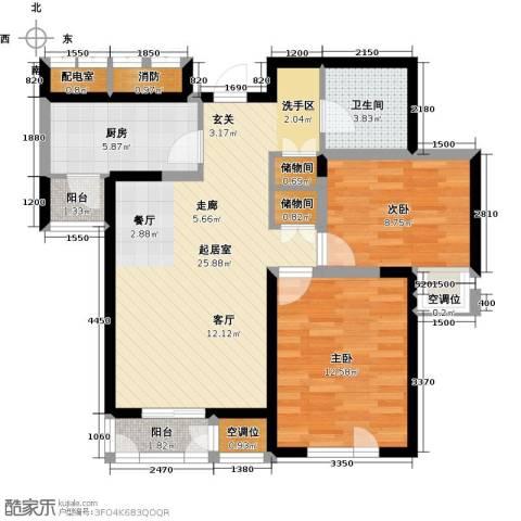 天房美域豪庭2室0厅1卫1厨96.00㎡户型图