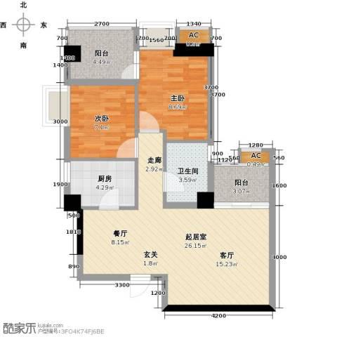 熙城2室0厅1卫1厨85.00㎡户型图