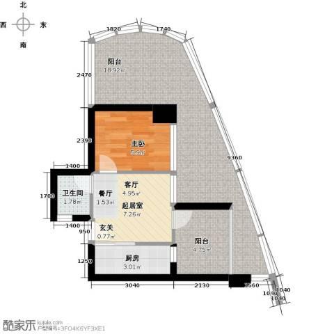 万泽国际1室0厅1卫1厨62.00㎡户型图