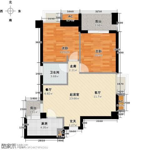 熙城2室0厅1卫1厨86.00㎡户型图