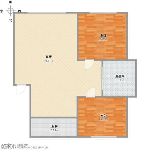 天福新城2室1厅1卫1厨121.00㎡户型图