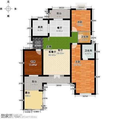 加州玫瑰园3室1厅2卫1厨140.00㎡户型图