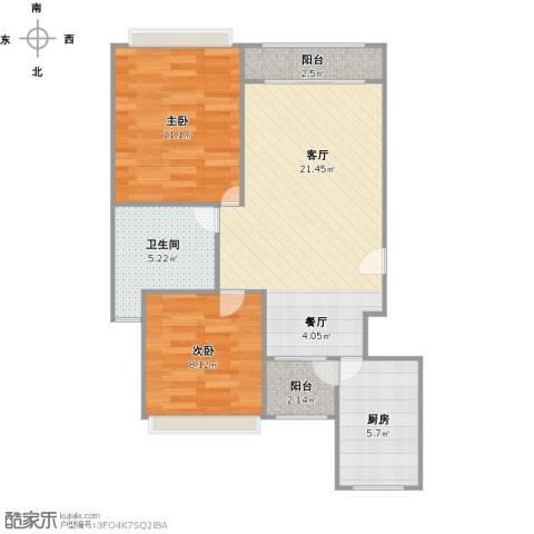 蔚蓝城市花园2室1厅1卫1厨75.00㎡户型图