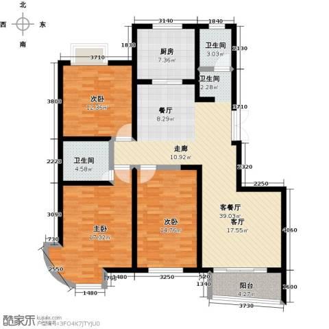 紫麟苑3室1厅2卫1厨148.00㎡户型图