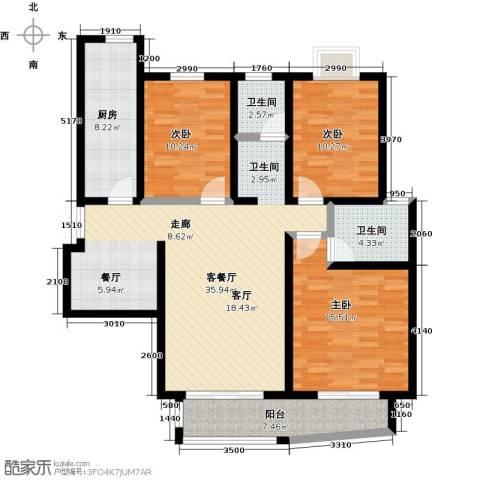 紫麟苑3室1厅2卫1厨137.00㎡户型图