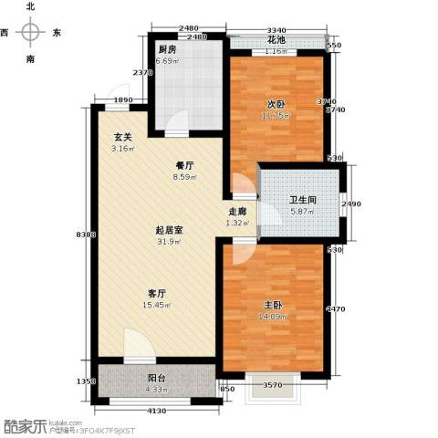 江南华府2室0厅1卫1厨109.00㎡户型图