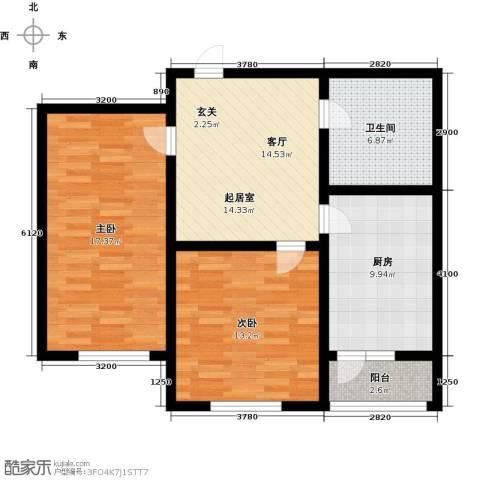 彩虹湾2室0厅1卫1厨92.00㎡户型图