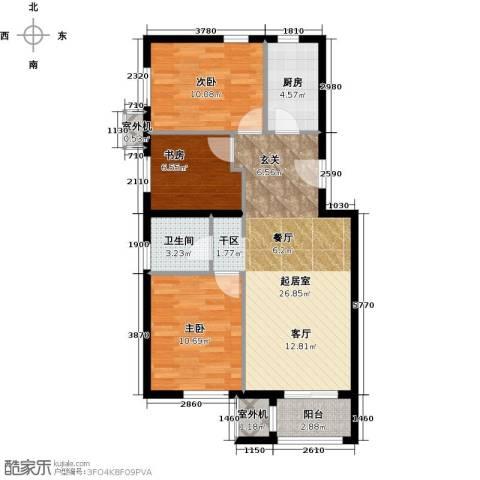 朱辛庄限价房3室0厅1卫1厨90.00㎡户型图