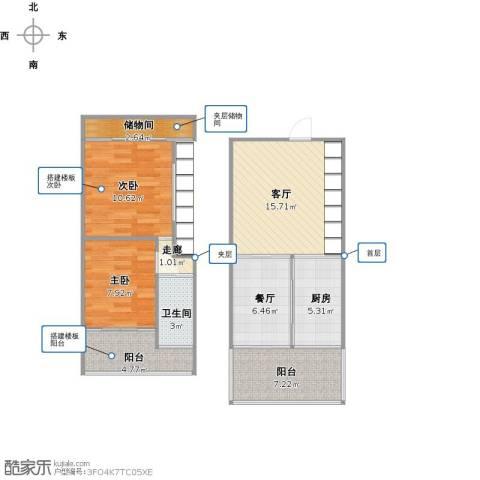 东方都会广场2室2厅1卫1厨89.00㎡户型图