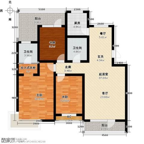 博荣・水立方3室0厅2卫1厨123.62㎡户型图