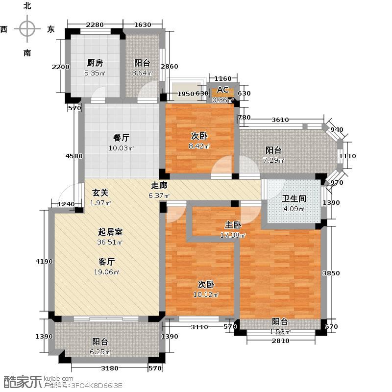 南山金城1958114.00㎡花园洋房E2户型3室2厅1卫