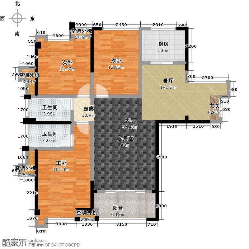三盛托斯卡纳119.00㎡92#楼08户型,建筑面积约119㎡,三房两厅两卫一阳台户型3室2厅2卫
