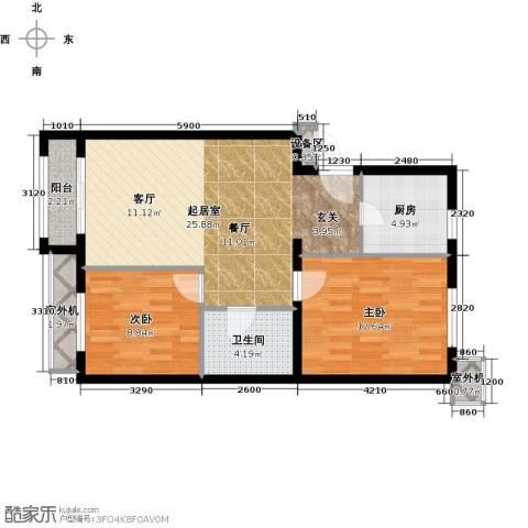 朱辛庄限价房2室0厅1卫1厨77.00㎡户型图