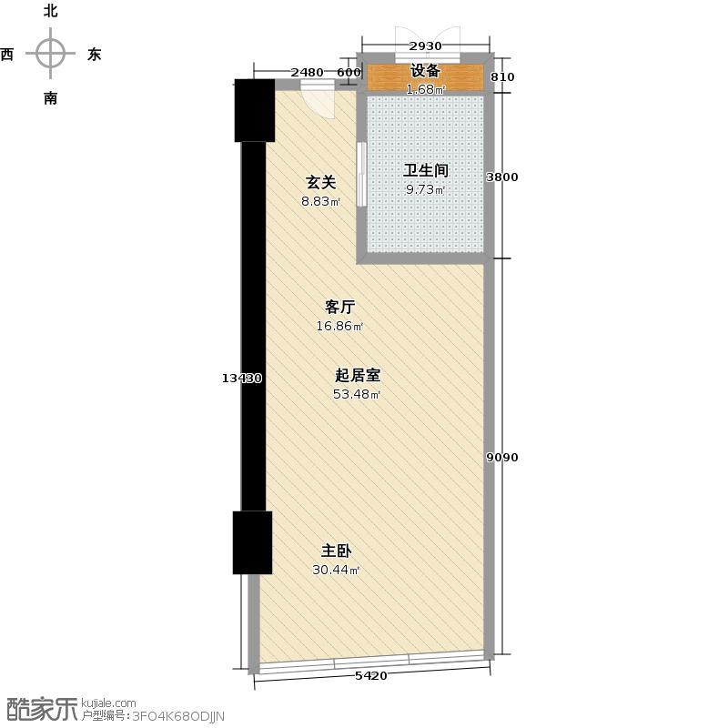 世茂锦绣长江74.24㎡8号房户型1室1厅1卫1厨户型QQ