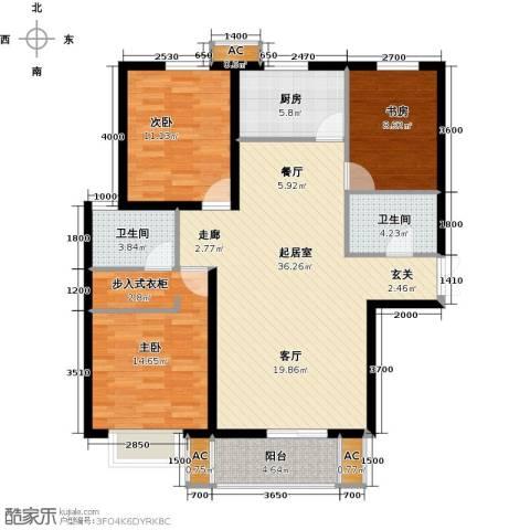 龙泽国际3室0厅2卫1厨114.00㎡户型图