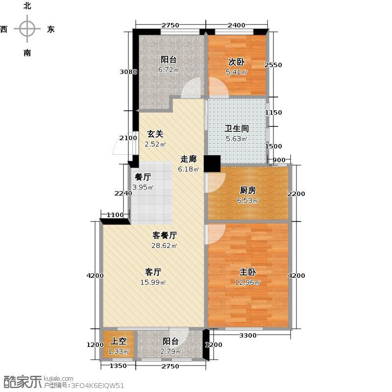 华宇梧桐苑86.00㎡B2户型 2室2厅1卫户型