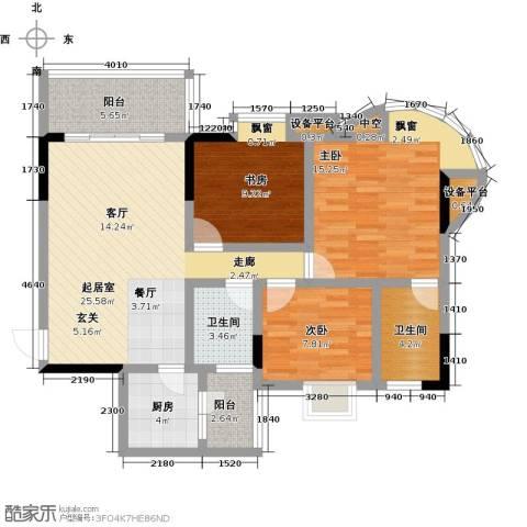 广州青春3室0厅2卫1厨117.00㎡户型图